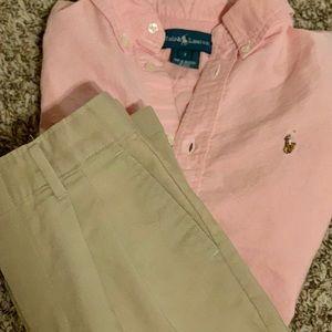 | Boys Pleated Dress Pants | Polo Dress Shirt |